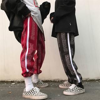 ✨流行中✨ 総柄ロゴパンツ ライン adidas stussy系(スラックス)