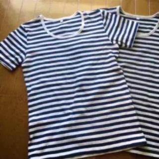 ムジルシリョウヒン(MUJI (無印良品))の2枚セット 美品!無印良品 ボーダーカットソー(Tシャツ(半袖/袖なし))