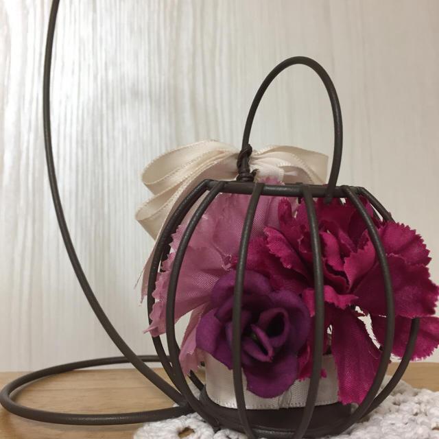 母の日ギフト 揺るれ花かご ブラウン ハンドメイドのフラワー/ガーデン(その他)の商品写真