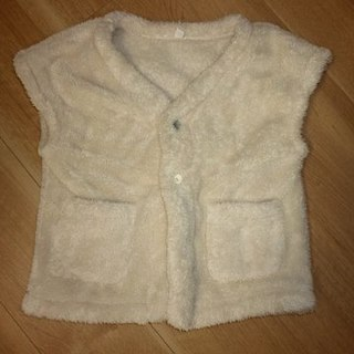ムジルシリョウヒン(MUJI (無印良品))の無印良品 ボアフリース ベスト 白色 100~110サイズ(その他)