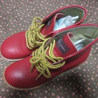 ピンクハウス(PINK HOUSE)のワンダフルワールド★新品☆L☆可愛い赤いハイカットブーツ(ブーツ)