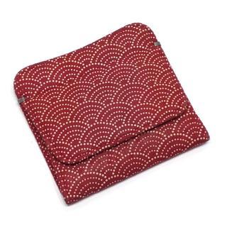 インデンヤ(印傳屋)のA573 中古 印傳屋 財布 小銭入れ 鹿革 漆  赤海波(コインケース)