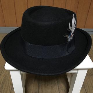 アングリッド(Ungrid)のアングリッド 羽付メルトンブラックハット帽子 男女兼用OK(ハット)