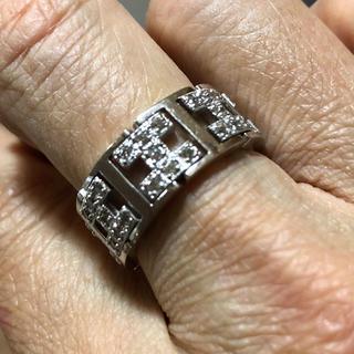 ダイヤモンド0.5カラットk18ホワイトゴールドチェーンリング(リング(指輪))