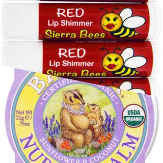 バジャー(Badger)のバジャー ナーシングバーム+シエラビーズ 赤色付きリップ2本 オーガニック(リップケア/リップクリーム)