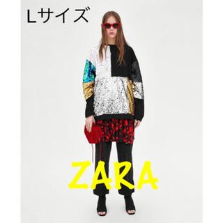 ザラ(ZARA)のsale!新品タグ付☆ZARA☆パッチワークスパンコールスウェット(トレーナー/スウェット)