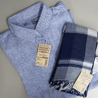 ムジルシリョウヒン(MUJI (無印良品))の新品 無印良品 麻 ストライプシャツ&パネルチェックストール(シャツ/ブラウス(長袖/七分))
