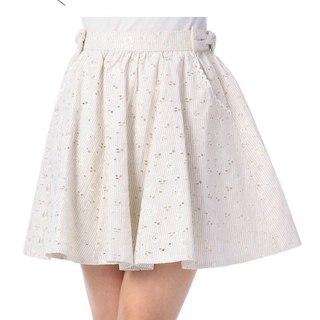 リズリサ(LIZ LISA)の【未使用】リズリサ フラワー刺繍ストライプスカート 淡いベージュ(ミニスカート)