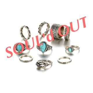 10個セット * アンティーク シルバーリング 指輪 ターコイズ ハート 薔薇(リング(指輪))