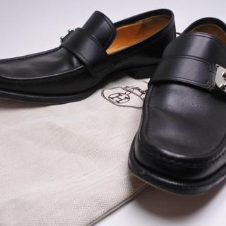 エルメス(Hermes)のエルメス ローファー サックアデペッシュ金具 ブラック シルバー 39 1/2(ローファー/革靴)