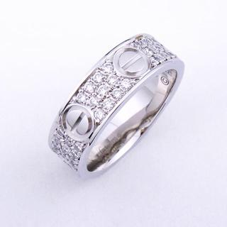 カルティエ(Cartier)の本物 カルティエ WG ラブリング パヴェダイヤ 48 8号 #48 k18(リング(指輪))