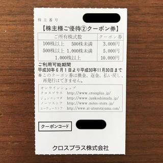 クロスプラス 株主優待☆クーポン3,000円分(ショッピング)