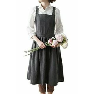 生け花 リネン エプロン ワンピース おしゃれ かわいい ナチュラル グレー(その他)
