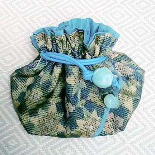 和装花柄巾着袋 ブルー本革紐 アクリル珠(ポーチ)