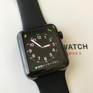 アップルウォッチ(Apple Watch)のApple Watch series3 スペースブラックステンレス 42mm(スマートフォン本体)
