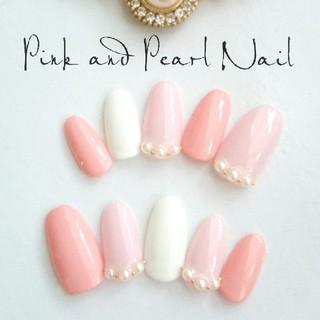 ピンク×パール♡ジェルネイルチップ