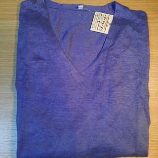 ムジルシリョウヒン(MUJI (無印良品))の無印良品 フレンチリネン UVカット Vネック セーター 婦人 ブルー S(ニット/セーター)