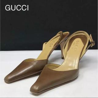 グッチ(Gucci)の正規品 グッチ バックストラップ  パンプス ブラウン(ハイヒール/パンプス)