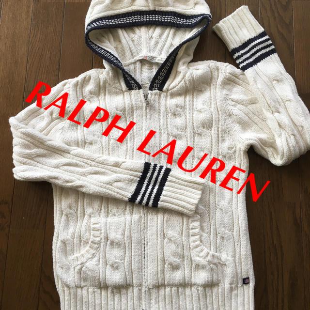 Ralph Lauren(ラルフローレン)のRALPH LAURE フーデット パーカー ニット コットン M 未使用 レディースのトップス(パーカー)の商品写真