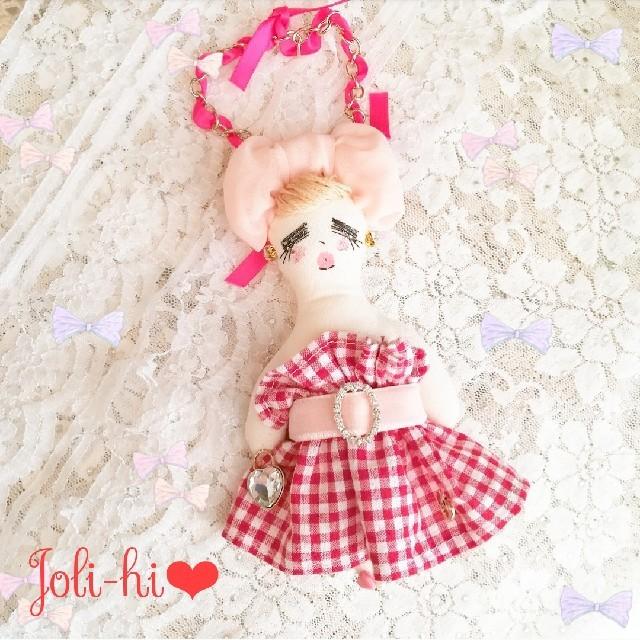 ギンガムチェック ビジュードール❤️ ハンドメイドのぬいぐるみ/人形(人形)の商品写真