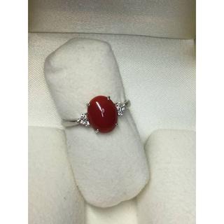 未使用Pt900 ダイヤ付0.10ct 赤珊瑚デザインリング15号 指輪 鑑別付(リング(指輪))