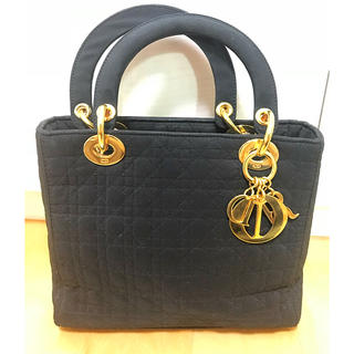 クリスチャンディオール(Christian Dior)のクリスチャンディオール レディディオール ナイロントートバッグ 黒 ゴールド金具(トートバッグ)