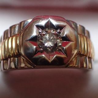 ★卸値★K18&PT900<一粒ダイヤ0.43>コンビメンズ指輪(リング(指輪))