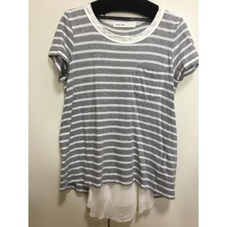 サカイラック(sacai luck)のサカイラック バックサテンボーダーTシャツ(Tシャツ(半袖/袖なし))