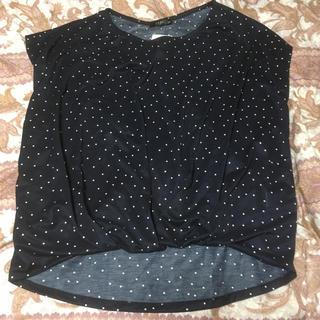 シマムラ(しまむら)の新品しまむら裾タックプルオーバードット柄ネイビーM(カットソー(半袖/袖なし))
