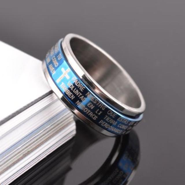 【19号】【ブルー】十字架聖書文チタンリング 指輪 メンズ レディース メンズのアクセサリー(リング(指輪))の商品写真