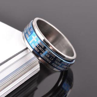 【19号】【ブルー】十字架聖書文チタンリング 指輪 メンズ レディース(リング(指輪))