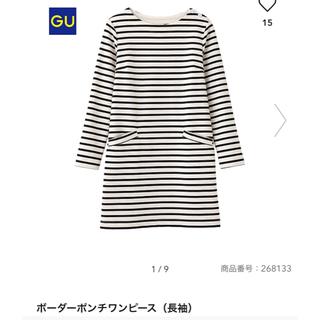 ジーユー(GU)のGU 黒×白ボーダーポンチワンピース Sサイズ(ミニワンピース)