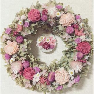 ローズ香る*ドライフラワーリース&アロマワックスサシェ〜natural pink(ドライフラワー)