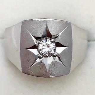 Pt850 天然ダイヤモンド 印台 リング(リング(指輪))