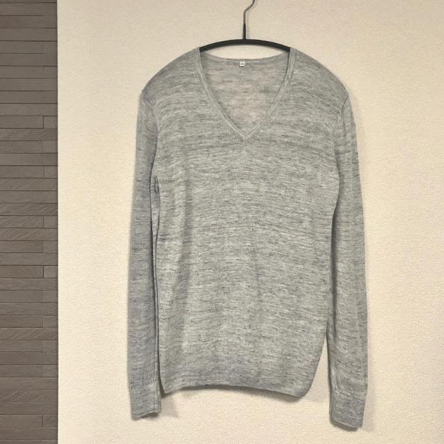 MUJI (無印良品)(ムジルシリョウヒン)の終了間近 無印良品 フレンチリネンUVカット Vネックセーター ライトグレー M レディースのトップス(ニット/セーター)の商品写真