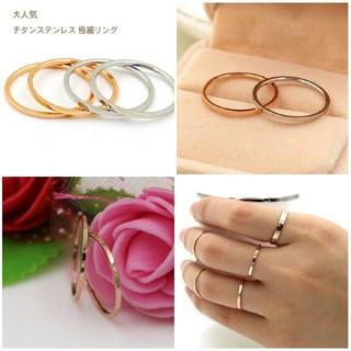 (309) サイズ充実 チタンステンレス ピンキーリング 関節リング  (リング(指輪))