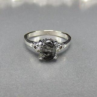 ブラックルチルクオーツ指輪リングAAA天然石一点物14号石街U0046(リング(指輪))