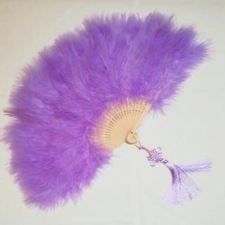 新品 特大羽扇子 ジュリアナ 紫と緑 2個セット (小道具)