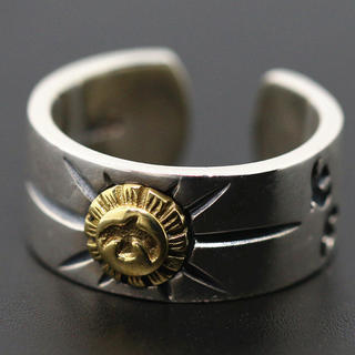 シルバー925、イーグルメタルリング、ゴローズ好きに、平打ちリング 金イーグルリ(リング(指輪))