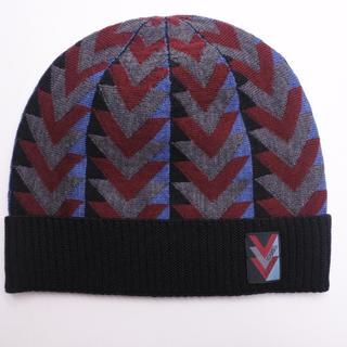 ルイヴィトン(LOUIS VUITTON)のルイヴィトン ガストン ニット帽 ビーニー グレー ブラック マルチ メンズ (ニット帽/ビーニー)
