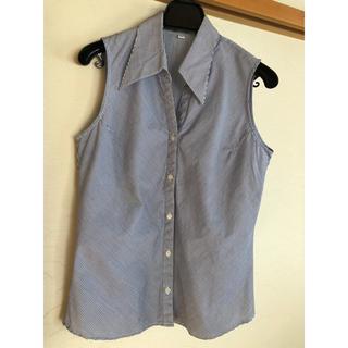 ムジルシリョウヒン(MUJI (無印良品))の青×白 斜めストライプ ノースリーブ シャツ(シャツ/ブラウス(半袖/袖なし))