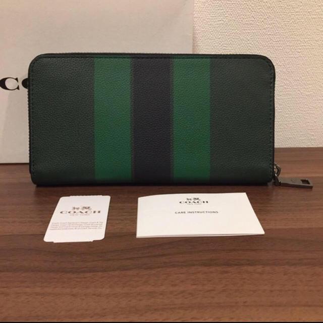 new style 914e8 d799d COACH コーチ メンズ 長財布 グリーン ストライプ 緑