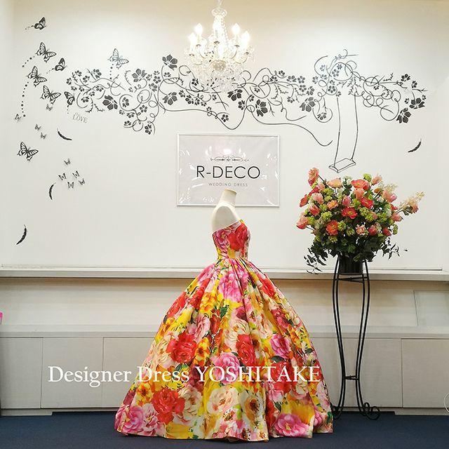 ウエディングドレス オレンジ花柄(無料パニエ付き) 披露宴/二次会 レディースのフォーマル/ドレス(ウェディングドレス)の商品写真