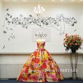 ウエディングドレス オレンジ花柄(無料パニエ付き) 披露宴/二次会(ウェディングドレス)