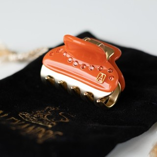 アレクサンドルドゥパリ(Alexandre de Paris)のアレクサンドル ドゥ パリ オレンジ スワロフスキー Sサイズ 新品 (バレッタ/ヘアクリップ)