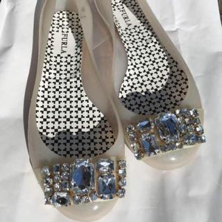 フルラ(Furla)のフルラ❤︎furlaレインパンプス❤︎ビジュー付き❤︎ホワイト(レインブーツ/長靴)