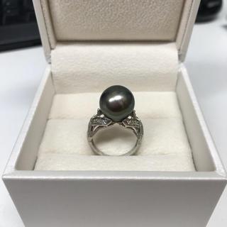 南洋黒蝶真珠 パール ダイヤリング  pt900(リング(指輪))