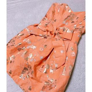 ザラ(ZARA)のオレンジ×ゴールドペイントベアドレスインポート(ナイトドレス)