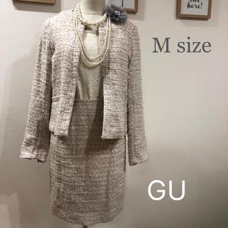 ジーユー(GU)の【M】GU ツイードスーツ ベージュピンク系(スーツ)