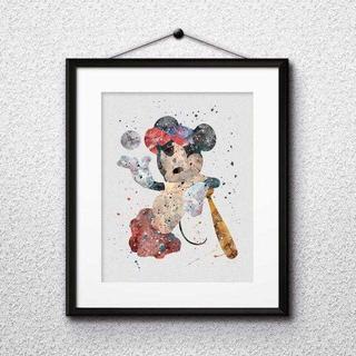 日本未発売!ミッキーマウス(野球)アートポスター【額縁つき・送料無料!】